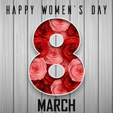 Happy International Women`s day greeting card. Number eight with paper cut flowers. Illustration of Happy International Women`s day greeting card. Number eight Royalty Free Stock Photography