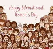 Happy International Women`s Day - hand drawn doodle faces stock photos