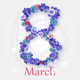 Happy International Women`s Day and 8 march. greeting card with small red and blue flowers Stock Images