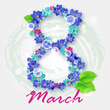 Happy International Women`s Day and 8 march. greeting card with small red and blue flowers Royalty Free Stock Photography