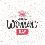 Happy International Women s Day on March 8th design background. Lettering design. March 8 greeting card. Background. Template for International Womens Day royalty free illustration