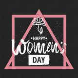 Happy International Women s Day on March 8th design background. Lettering design. March 8 greeting card. Background Royalty Free Stock Photo