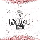 Happy International Women s Day on March 8th design background. Lettering design. March 8 greeting card. Background. Template for International Womens Day Vector Illustration