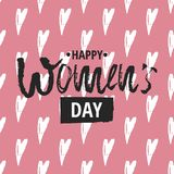 Happy International Women s Day on March 8th design background. Lettering design. March 8 greeting card. Background. Template for International Womens Day stock illustration