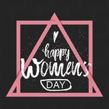 Happy International Women s Day on March 8th design background. Lettering design. March 8 greeting card. Background template for I Stock Photo