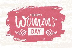 Happy International Women s Day on March 8th design background. Lettering design. March 8 greeting card. Background template for I Royalty Free Stock Photo