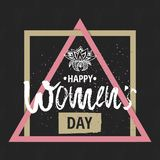 Happy International Women s Day on March 8th design background. Lettering design. March 8 greeting card. Background template for I Stock Photos