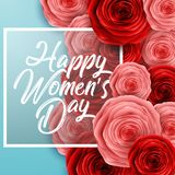 Happy International Women`s Day with paper cut roses flower and square frame on blue background. Illustration of Happy International Women`s Day with paper cut stock illustration