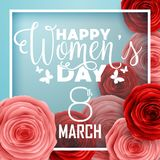 Happy International Women`s Day with paper cut roses flower and square frame on blue background. Illustration of Happy International Women`s Day with paper cut royalty free illustration
