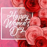 Happy International Women`s Day with paper cut roses flower and square frame on pink background. Illustration of Happy International Women`s Day with paper cut vector illustration