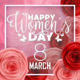 Happy International Women`s Day with paper cut roses flower and square frame on pink background. Illustration of Happy International Women`s Day with paper cut stock illustration