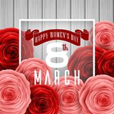 Happy International Women`s Day with paper cut roses flower and square frame on wood background. Illustration of Happy International Women`s Day with paper cut Stock Photography