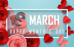 Happy International Women`s Day with roses flower, butterflies, hearts and rectangle frame on blue background. Illustration of Happy International Women`s Day Stock Images