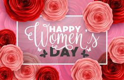 Happy International Women`s Day with roses flower, butterflies, hearts and rectangle frame on pink background. Illustration of Happy International Women`s Day Stock Photo
