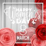 Happy International Women`s Day with roses flower, butterflies, hearts and rectangle frame on wood background. Illustration of Happy International Women`s Day Royalty Free Stock Photos
