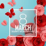 Happy International Women`s Day with roses flower, butterflies, hearts and square frame on blue background. Illustration of Happy International Women`s Day with Royalty Free Stock Images