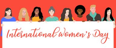 Happy International Women`s Day, 8th March. Women Power Illustrated By Hand - Vector Eps stock illustration