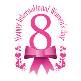 Happy international womens day eight bow hearts Stock Photos