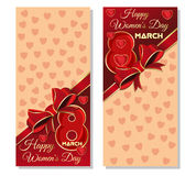 Happy International Womens Day. Festive background with hearts, ribbon and bows for the holiday on March 8 Stock Photos