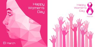Happy International Womens Day Greeting Card Design. Pink hands background for 8 March Day. Womens Day Greeting Card Design. Typographic Composition for 8 March royalty free illustration
