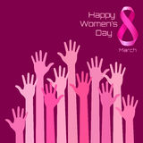 Happy International Womens Day Greeting Card Design. Pink hands. Background for 8 March Day. Vector illustration stock illustration