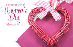 Happy International Womens Day, March 8, heart and text stock photography