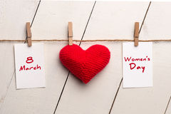Happy International Womens Day, March 8, heart and text royalty free stock photography