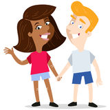Happy interracial cartoon couple holding hands. Isolated on white background Stock Photos