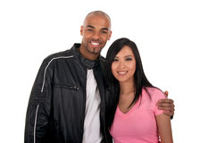 Happy interracial couple. Asian girl with African American boyfriend stock image