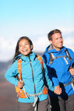 Happy interracial couple hiking Royalty Free Stock Image