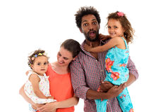 Happy interracial family isolated on white Royalty Free Stock Image