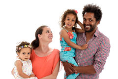 Happy interracial family isolated on white Stock Images