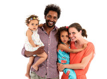 Happy interracial family isolated on white Stock Image