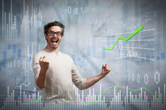 Happy investor man. stock photos