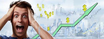 Happy investor man. stock photo