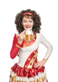 Happy Irish dancer drinking beer Royalty Free Stock Photo