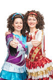 Happy Irish dancers showing thumbs up sign Royalty Free Stock Photos