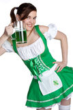 Happy Irish Girl. Holding beer Royalty Free Stock Images
