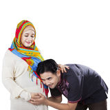 Happy islamic family waiting childbirth Stock Images