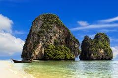 Happy Island with blue sky at Phranang beach Stock Photos