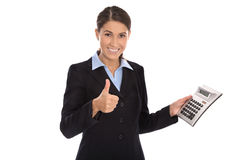 Happy isolated businesswoman showing pocket calculator. Royalty Free Stock Photos