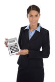 Happy isolated businesswoman showing pocket calculator. Stock Photo