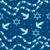 Happy Israel Independence Day seamless pattern with flags and bunting. Jewish Holidays endless background, texture Stock Photo