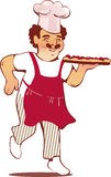 Happy Italian chef with a pizza Stock Photo