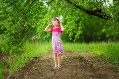 Happy ittle girl in bright dress and funny sunglasses walk in summer garden. Happy ittle girl in bright dress and funny sunglasses walk in garden stock images