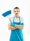 Happy janitor after work Stock Images