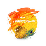 Happy Janmashtam card. Happy Janmashtami. Indian fest. Dahi handi on Janmashtami, celebrating birth of Krishna. Watercolor abstract background. Template for Royalty Free Stock Images