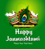 Happy Janmashtami Backround with Flute Stock Image
