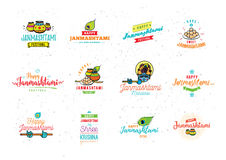 Happy Janmashtami festival typographic vector design. Royalty Free Stock Images