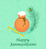 Happy janmashtami, Indian feast of the birth of Krishna. Greeting card janmashtami Stock Photo